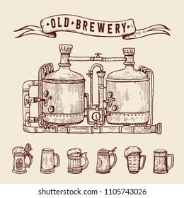 Vintage engraving style beer set. Retro brewery engraving. Copper tanks and barrels, beer mugs and ribbon. Craft beer Local brewery. Beer pint hand drawn ink sketch. Vector illustration.