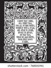 Vintage engraving. The Tree of Life in Norse mythology, animals and humans, the serpent and the sayings of the Norse God Odin, isolated on black, vector illustration