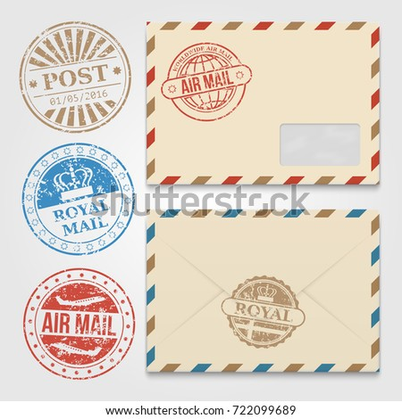 Vintage envelopes template grunge postal stamps stock vector vintage envelopes template with grunge postal stamps envelope with stamp air mail vector illustration maxwellsz