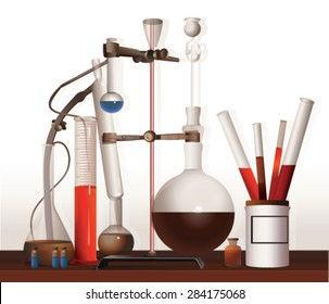 Vintage equipment for chemical lab. Equipment alchemist, apothecary.