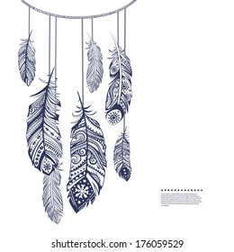 Vintage ethnic tribal feather seamless for your business