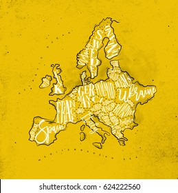 Vintage europe map with countries inscription uk, ireland, norway, sweden, finland, germany, france, spain, italy, poland, czech, austria, switzerland, netherlands, belgium drawing on yellow paper