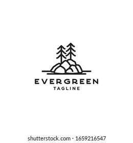 Vintage Evergreen Pine Fir tree on rock. Monoline Logo vector