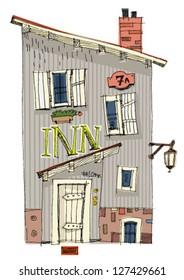 vintage facades of old city - cartoon