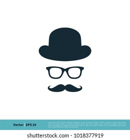 Vintage Face with Hat, Eyeglasses and Mustache Icon Vector Logo Template