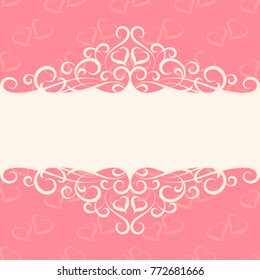 Vintage Fairytale Valentine's Day vector illustration background with hearts, border decoration, divider, header, ornamental frame template for wedding, invitations and romantic cards, place for text.