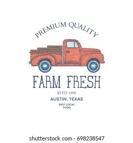 Vintage Farm Food Logo. Logo mit Gravur. Vektorgrafik