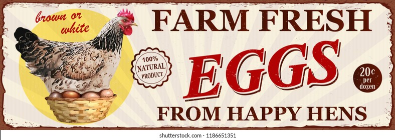 Vintage Farm Fresh Eggs metal sign.