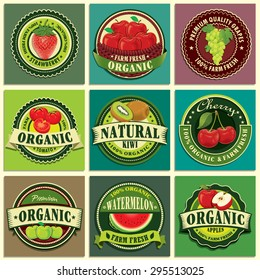 Vintage farm fresh label design set