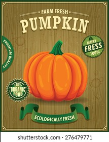 Vintage farm fresh pumpkin poster design