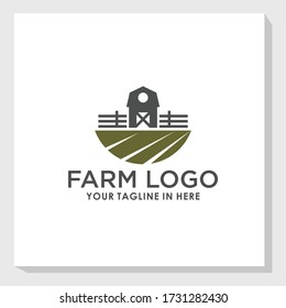 ビンテージファームハウスの風景ロゴデザインテンプレートベクター画像、農業ブランドロゴテンプレート
