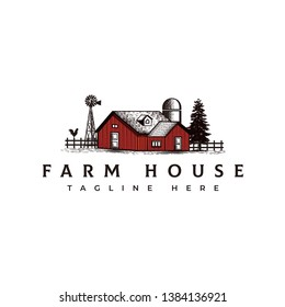 Vintage farm house logo design template - vector