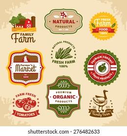 Vintage farm labels vector illustration