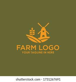 vintage farm landscape logo template stock design vector,  wheat brand logo template