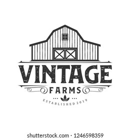 Vintage farm logo design - barn wood building house farm cow cattle