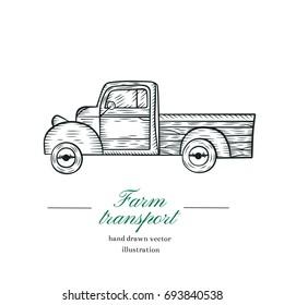 Vintage farm pickup truck logo. Engraved car. Vector illustration