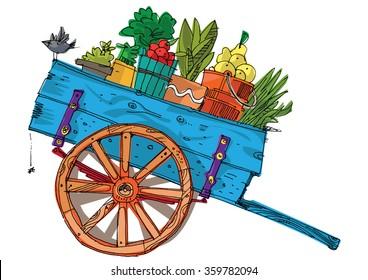 a vintage farmer cart - cartoon