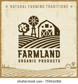 Vintage Farmland Label. Editable EPS10 vector illustration with clipping mask and transparency in retro woodcut style.