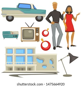 Vintage fashion and 1960s style, architecture and epoch symbols, man and woman vector. Retro car and radio, TV set and building, earrings and lamp. Girl in gold jewelry and guy in turtleneck and pants