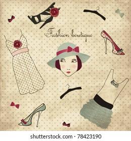 Vintage fashion boutique set