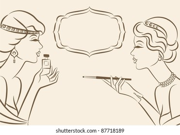 Vintage fashion girl with cannon-bit and perfume. Vector