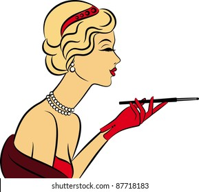 Vintage fashion girl with cannon-bit. Vector