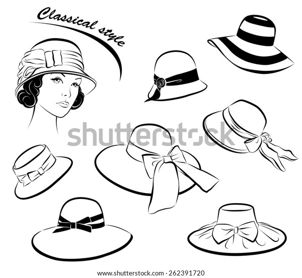 affordable price detailed look order Vintage Fashion Girl Hat Collection Isolated Stock Image ...