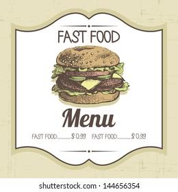 Vintage fast food background. Hand drawn illustration