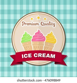 Vintage fast food badge, banner or logo emblem. Elements on the theme of the fast food business. Vector illustration. Ice cream design, sticker or emblem. For fast food poster, banner or t-shirt.