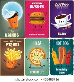 Vintage fast food poster design set with drink, burger, fries, coffee, pizza, hot dog character.