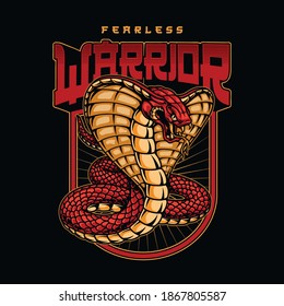 Vintage fearless warrior colorful badge in japanese style with king cobra on dark background isolated vector illustration