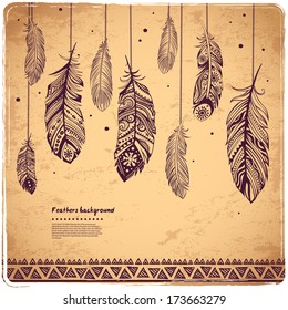 Vintage Feather illustration can be used as a greeting card