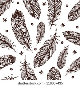 Vintage Feather pattern for your greeting card ot fabric print