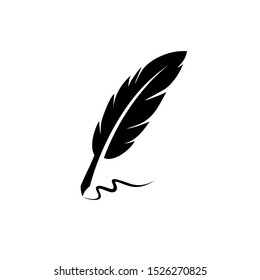 vintage Feather quill pen logo with black ink stroke, scratch icon, classic stationery illustration isolated on white background