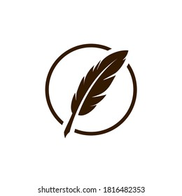 vintage Feather quill pen logo with circle frame black ink icon, classic stationery illustration isolated on white background