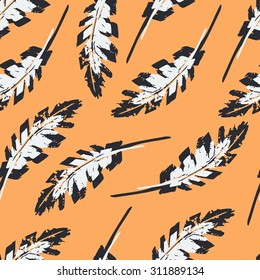 Vintage Feather seamless pattern. Hand drawn illustration.