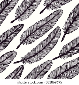 Vintage Feather seamless pattern. Hand drawn vector background with feathers. Decorative design illustration.