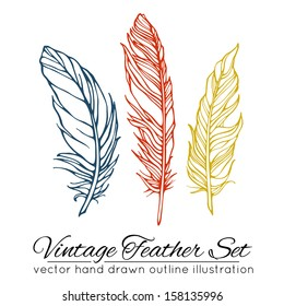 Vintage feather set isolated on white background. Hand drawn vector illustration