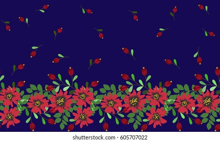 Vintage feed sack border in small folk flowers, berries. Floral sweet seamless background for textile, cotton fabric, covers, wallpapers, print, gift wrap and scrap booking. Satin print.