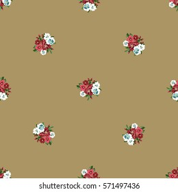 Vintage feedsack pattern in small flowers. Millefleurs. Floral sweet seamless background for textile, cotton fabric, covers, wallpapers, print, gift wrap and scrapbooking.