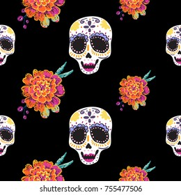 Vintage female sugar skull and marigold seamless pattern. Bright traditional illustration on black background for fabric design in watercolor style.