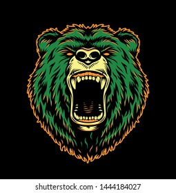 Vintage ferocious bear head in green and orange colors isolated vector illustration