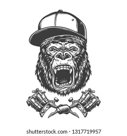 Vintage ferocious gorilla head in baseball cap and bandana with crossed tattoo machines isolated vector illustration