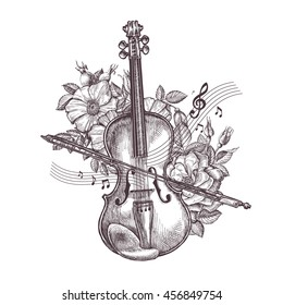 Vintage fiddle. Hand-drawn retro the violin and flowers. Vector illustration