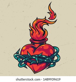 Vintage fiery heart colorful template with barbed wire around it isolated vector illustration