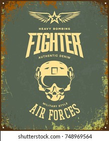 Vintage fighter pilot helmet vector logo isolated on khaki background. Premium quality air force logotype t-shirt emblem illustration poster. Military street wear superior retro tee print design.