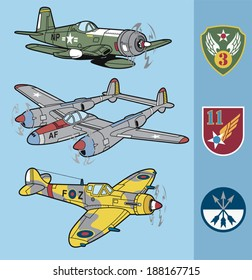 Vintage fighter planes set 2