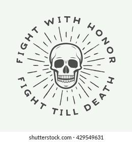Vintage fighting skull label, emblem and logo. Vector illustration