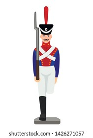 Vintage figure of a military tin soldier. retro toy. flat vector illustration isolated on white background