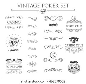 Vintage filigree poker label set. Casino club and poker. Playing card and poker chip. Royal flash, dollar, diamond ace. Filigree divider frame and border. Vintage calligraphic label and padge.